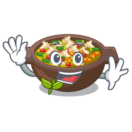 Waving minestrone is served in cartoon bowl vector illustration