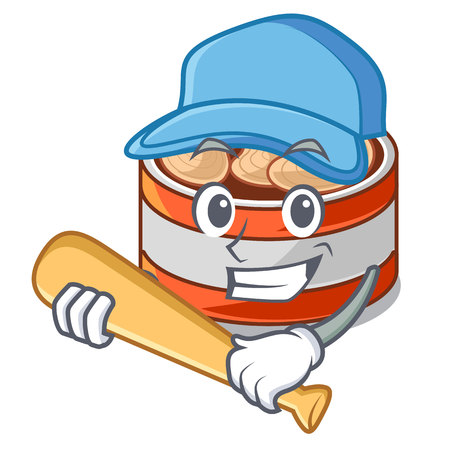 Playing baseball canned tuna isolated with in mascot