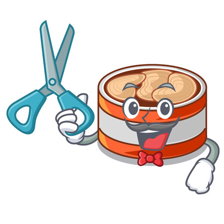 Barber canned tuna isolated with in mascot vector illustration