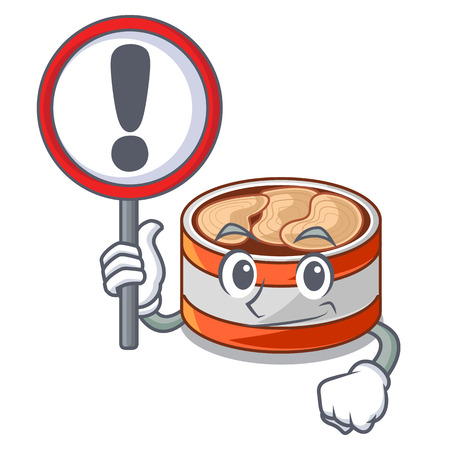 With sign canned tuna isolated with in mascot vector illustration