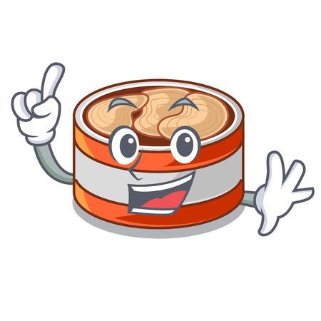 Finger canned tuna in cartoon kitchen cabinet vector illustraion