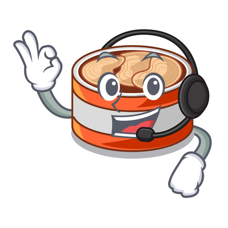 With headphone canned tuna in cartoon kitchen cabinet