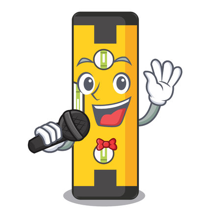 Singing spirit level above wooden table character vector illustration