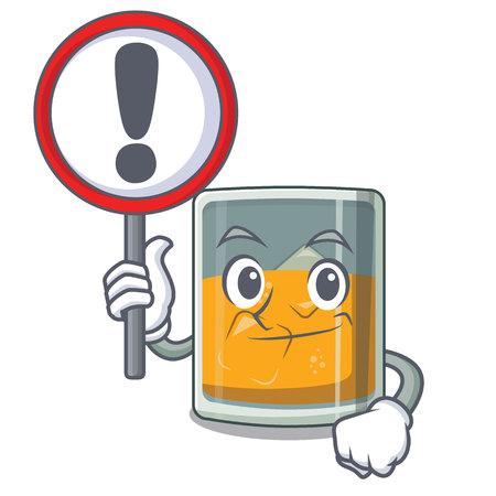 With sign whiskey the in a cartoon glass vector illustration