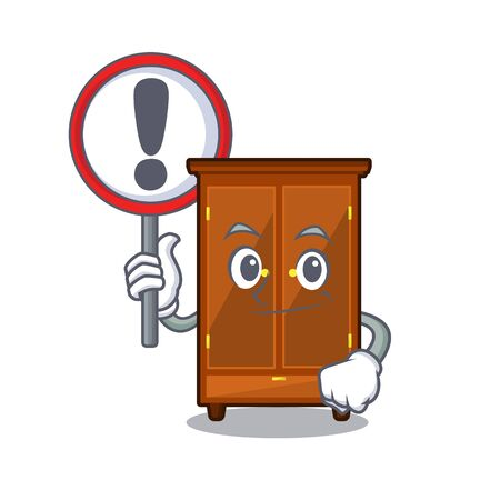 With sign wardrobe in the a mascot bedroom vector illustration