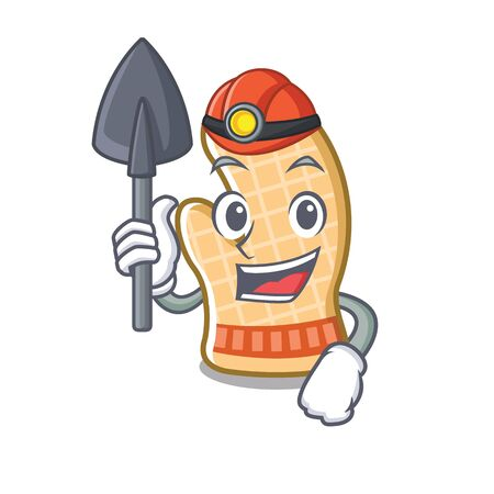 Miner oven glove isolated in the charcater vector illustration