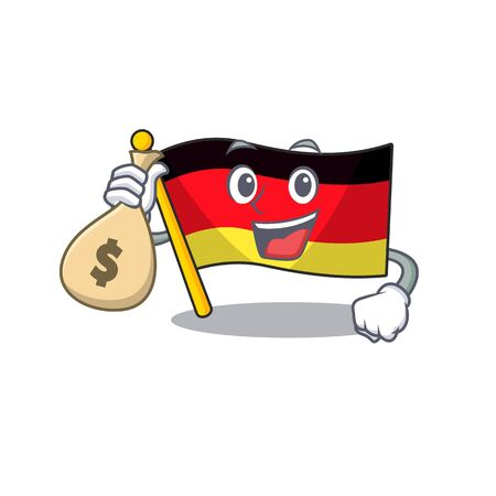 With money bag germany flag cartoon isolated the mascot vector illustration