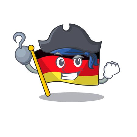 Pirate germany flag cartoon isolated the mascot vector illustration