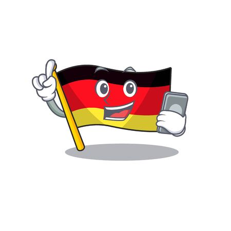 With phone germany flag cartoon isolated the mascot vector illustration