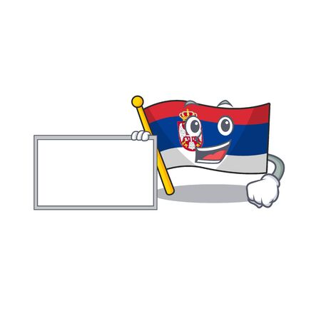 With board flag serbia isolated with the character