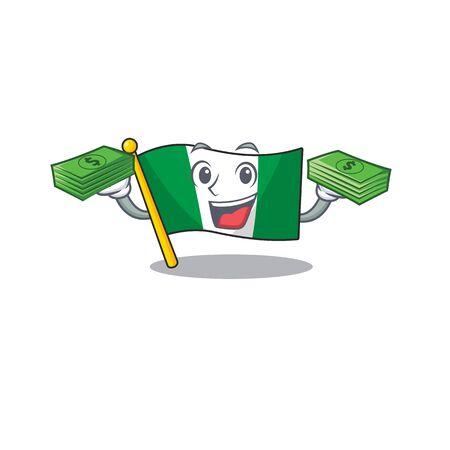 Illustration pour With money bag flag nigeria mascot shaped a cartoon vector illustration - image libre de droit