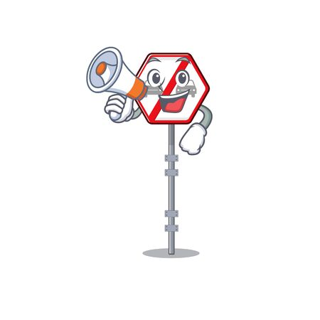 Illustration pour With megaphone no overtaking isolated with the character vector illustration - image libre de droit