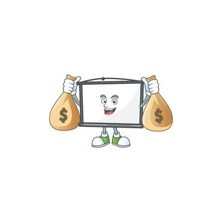 Illustration pour With money bag empty project screen on the mascot - image libre de droit