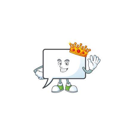 King shape rectangle bubble cartoon character style.