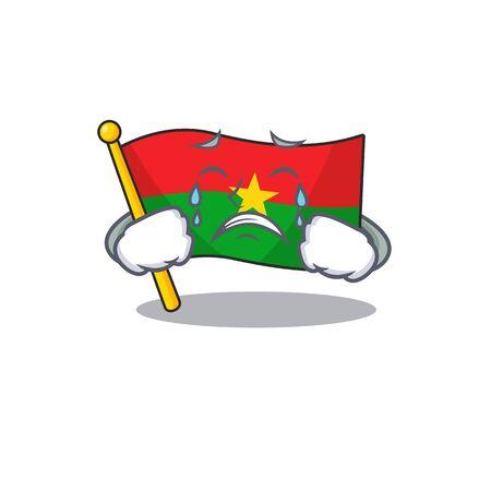 Illustration pour Sad Crying flag burkina faso mascot cartoon style. Vector illustration - image libre de droit