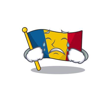 Illustration pour Sad Crying flag chad Scroll cartoon character design. Vector illustration - image libre de droit