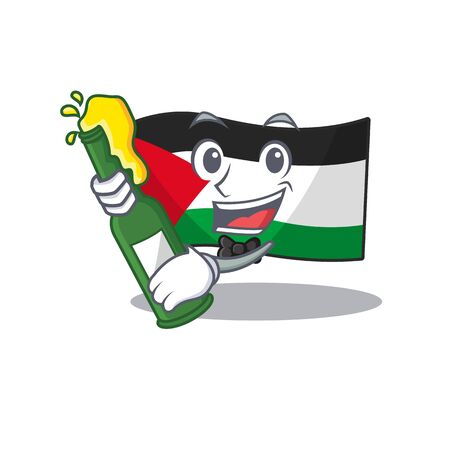 Illustration pour Flag palestine Scroll with bottle of beer mascot cartoon style. Vector illustration - image libre de droit