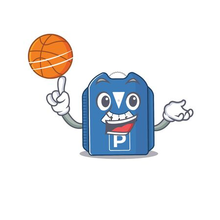 A mascot picture of parking disc cartoon character playing basketball. Vector illustration