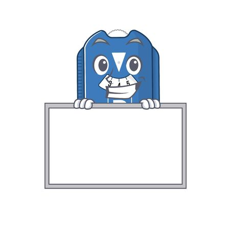 A cute picture of parking disc grinning with board. Vector illustration