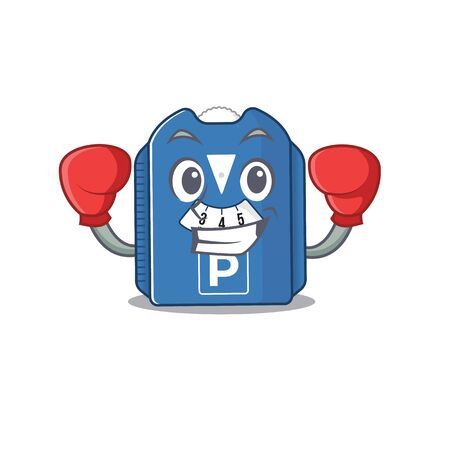 Sporty Boxing parking disc mascot character style. Vector illustration