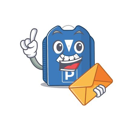 Cheerfully parking disc mascot design with envelope. Vector illustration