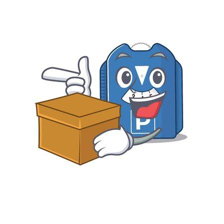 Cute parking disc cartoon character having a box. Vector illustration