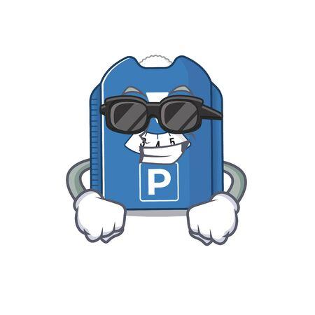 Super cool parking disc character wearing black glasses. Vector illustration