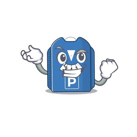 Waving friendly parking disc cartoon character design. Vector illustration