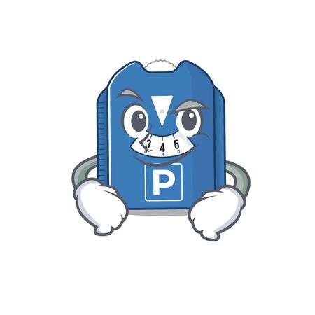 Cool parking disc mascot character with Smirking face. Vector illustration