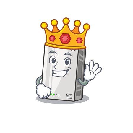 A stunning of power bank stylized of King on cartoon mascot style