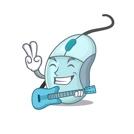 A mascot of computer mouse performance with guitar