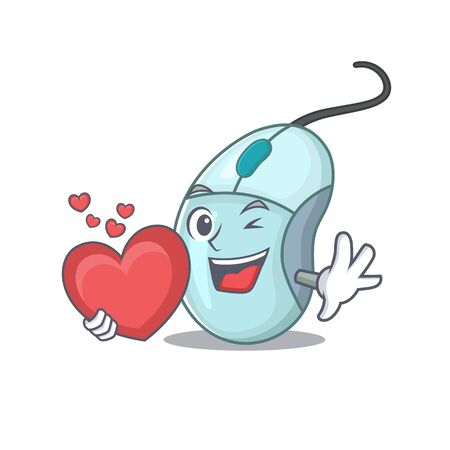 Funny Face computer mouse cartoon character holding a heart. Vector illustration
