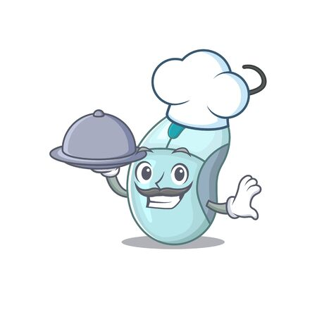 cartoon design of computer mouse as a Chef having food on tray. Vector illustration