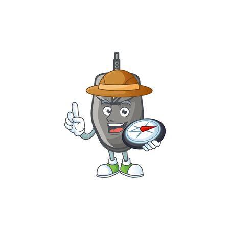 A black mouse explorer cartoon design having a compass