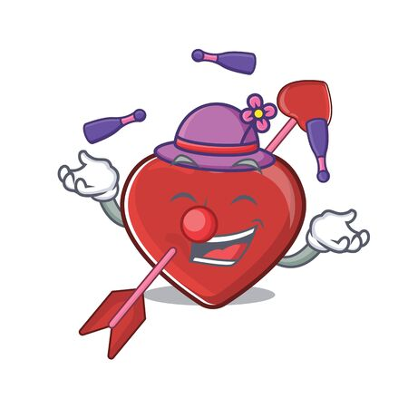 Illustration pour a lively heart and arrow cartoon character design playing Juggling. Vector illustration - image libre de droit