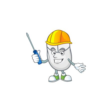 Smart automotive white mouse in cartoon character style