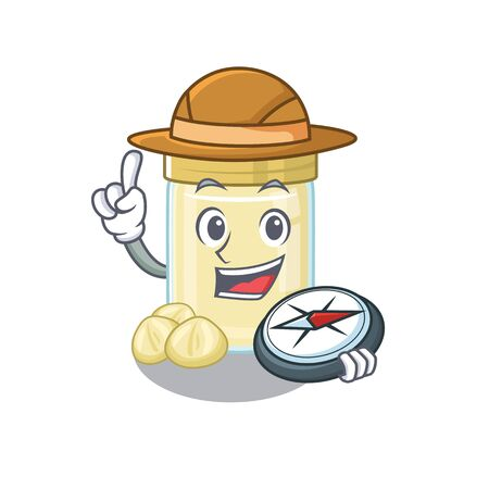 Illustration for Macadamia nut butter experienced Explorer using a compass. Vector illustration - Royalty Free Image