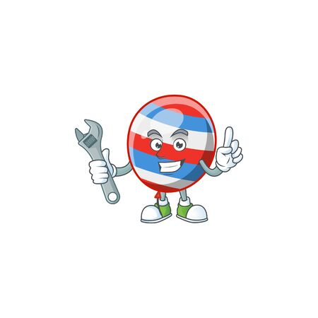 Illustration for mascot design concept of independence day balloon mechanic. Vector illustration - Royalty Free Image