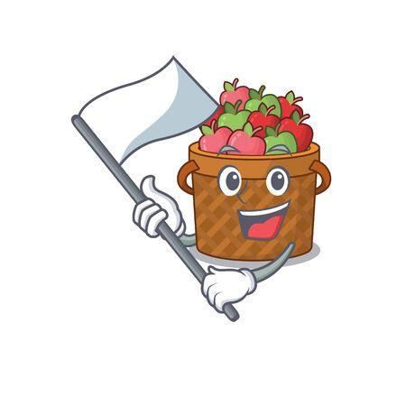 Apple basket cartoon character design holding standing flag