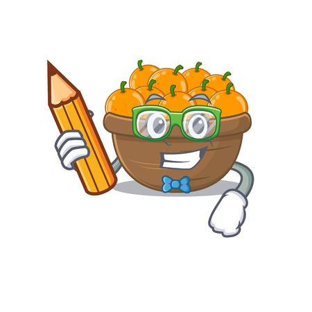 A smart student orange fruit basket character with a pencil and glasses