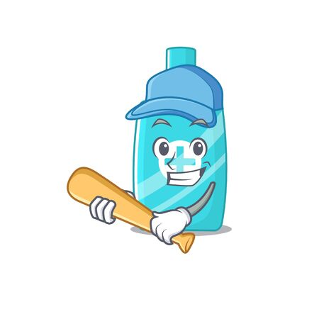 Picture of ointment cream cartoon character playing baseball. Vector illustration