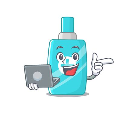 Cartoon character of ointment cream clever student studying with a laptop. Vector illustration
