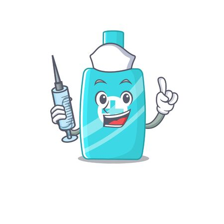 A nice nurse of ointment cream mascot design concept with a syringe. Vector illustration