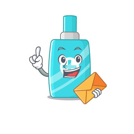 Happy ointment cream mascot design concept with brown envelope. Vector illustration