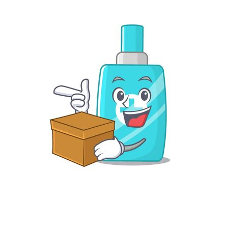 An picture of ointment cream cartoon design concept holding a box. Vector illustration