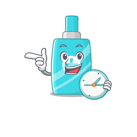 Ointment cream mascot design concept smiling with clock. Vector illustration