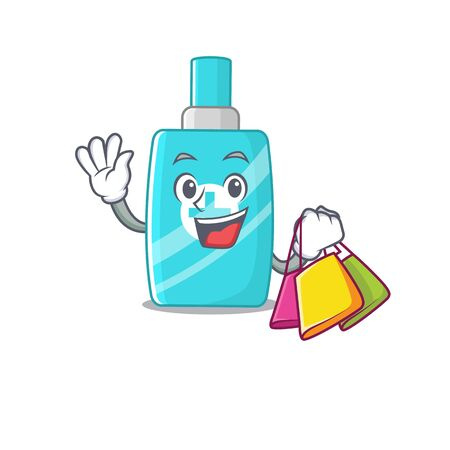 Rich and famous ointment cream cartoon character holding shopping bags. Vector illustration