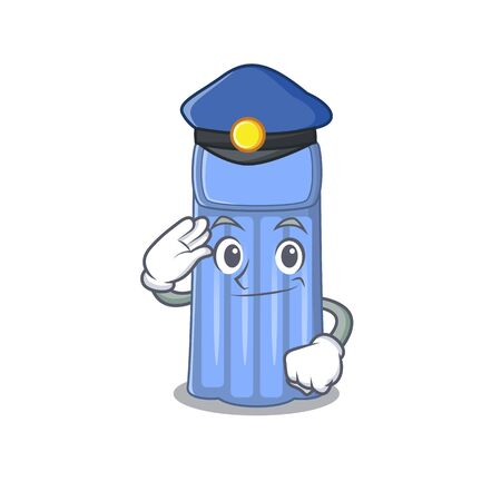 Illustration pour Police officer mascot design of water mattress wearing a hat. Vector illustration - image libre de droit
