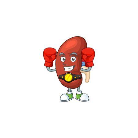 Illustration pour A sporty leaf human kidney boxing athlete cartoon mascot design style - image libre de droit