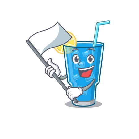 A heroic blue lagoon cocktail mascot character design with white flag